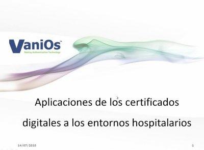 Certificado digital en Hospitales, Webinar de 1 hora por Vanios.es