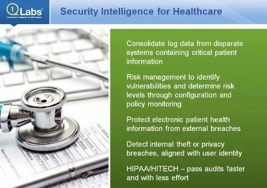 Ciberseguridad en Hospitales. Webinar por Q1 Labs. Webinar en inglés de 1 hora.