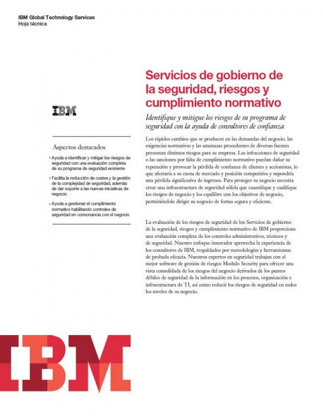 Servicios IBM de gobierno de la seguridad, riesgos y cumplimiento normativo (Casos prácticos)
